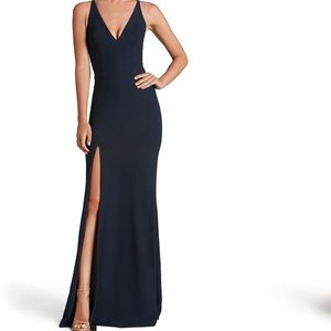 Iris Crepe Side Slit Gown Navy Blue